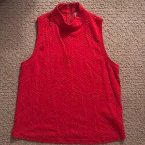 Red mock neck tank